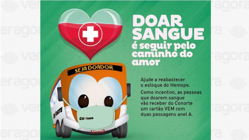 Nesta terça-feira (09), o Conorte vai disponibilizar um ônibus para levar doadores ao Hemope. Nesta época do ano as doações diminuem e a situação da Fundação fica preocupante.