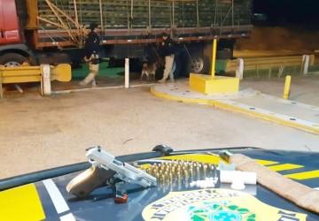 PRF apreende cocaína, pistola e rebites em caminhão com carga de melancias em Sertânia