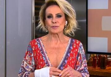 Ana Maria Braga apresenta o Mais Você com mão imobilizada após cirurgia