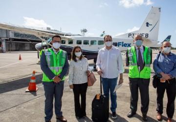 Paulo Câmara participa de voo inaugural da Azul entre Recife e Serra Talhada, no Sertão