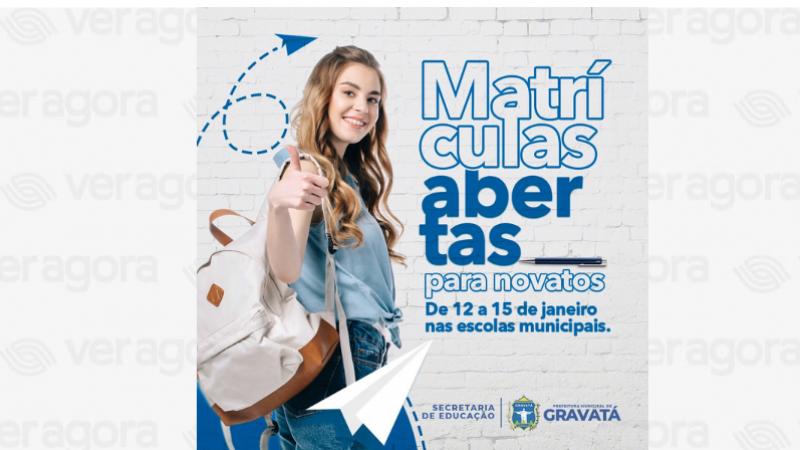 A rede municipal de ensino receberá as novas inscrições no período de 12 a 15 de janeiro