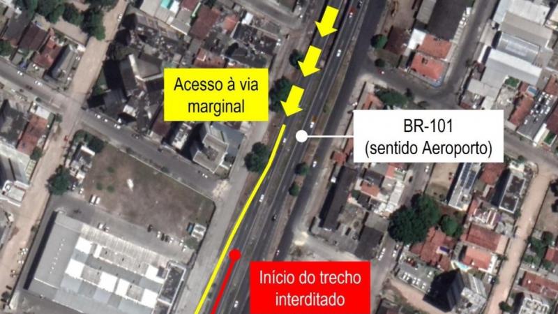 A intervenção, que faz parte das obras de implantação da passarela para travessia de pedestres, terá duração de até 3 dias
