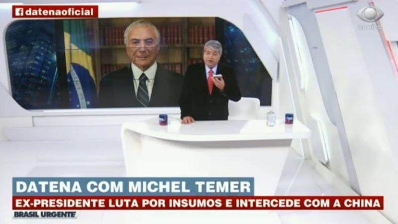 O ex-presidente Michel Temer entrou no esforço pela liberação por parte do governo chinês, dos insumos para a produção da Coronavac pelo Butantan